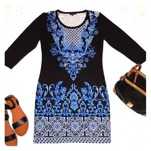 JUST LOVE BLACK AND BLUE FLORAL COTTON DRESS